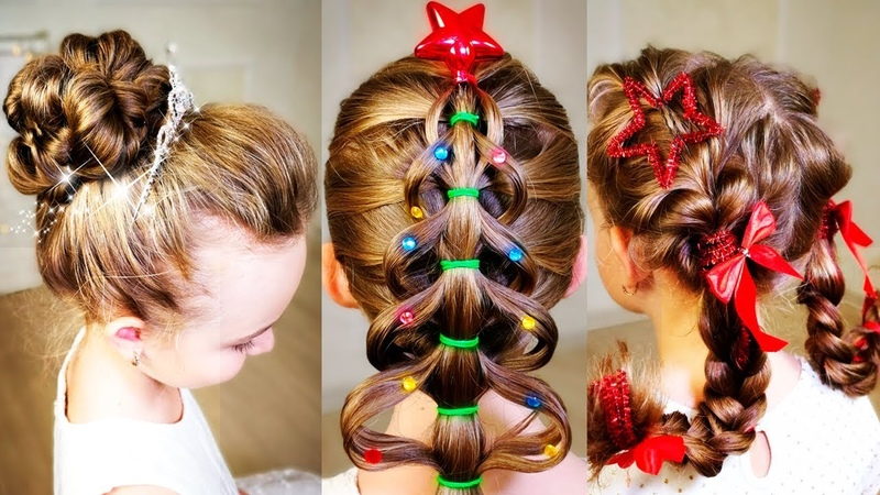 7 Easy Cute Christmas hairstyles! 7 Simple Holiday Hairstyles Tutorial. Quick hairstyles!