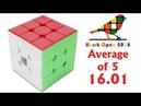Rubik's Cube 3x3x3 average of 5 - 16.01; single - 15.04 (oficial solves)