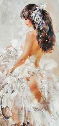"""Оригинал схемы вышивки  """"В белом """".  В белом, живопись, искусство, картина, люди, девушка."""
