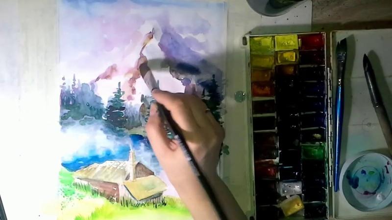 ГОРНОЕ ОЗЕРО Учимся рисовать пейзаж акварелью Mountain lake draw watercolor