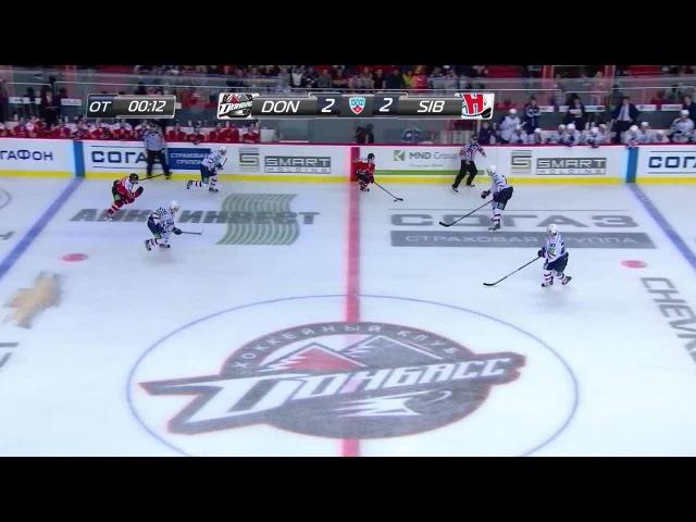 Khl Донбасс - Сибирь (2012.09) Опасный момент. Лехтеря (Сибирь) забивает гол, но шайба отменена в связи с тем, что время овертайма вышло.