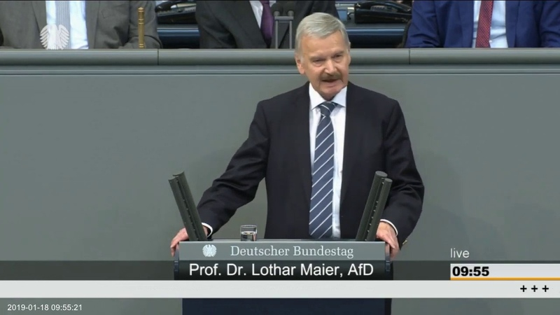 Prof. Dr. Lothar Maier (AfD) Dankt der CDUCSU für die Übernahme der AfD Positionen. 18.01.2019