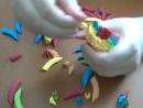 3д оригами попугай ч 1 3D Origami Parrot macaw tutorial instructions part1