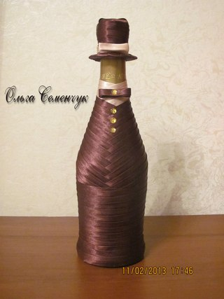 Как украсить бутылку виски своими руками на