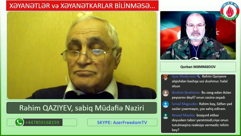 9 Dek 2018: Şuşa namussuzluğu: sirlər, müəmmalar, həqiqətlər.. Suallara Rəhim Qazıyev cavab verir.