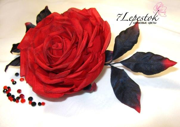 Брошь- роза Фламенко. Цветы из шелка (3 фото) - картинка
