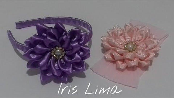 Como fazer flor de fita de cetim Diy Tutorial Pap By Iris Lima