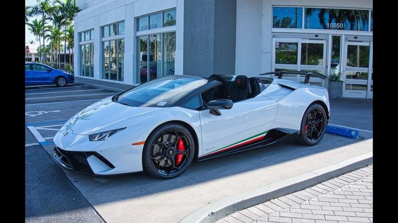 Lamborghini Huracan Perfomante Spyder LOUD ANGRY BULL Delivery to Lamborghini Miami