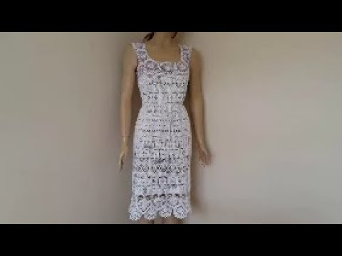 How to crochet a lace summer dress - Two colors