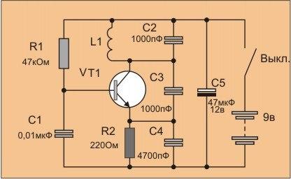 Металлоискатели своими руками схемы транзисторах