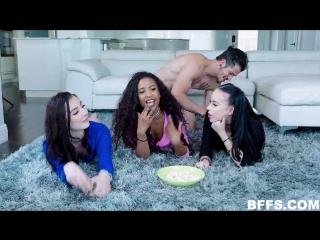 Bambi Black, Demi Sutra & Megan Winters – Movie Night [TeamSkeet. Group Sex, POV, Teen]