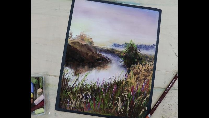 Урок рисования сухая пастель пейзаж