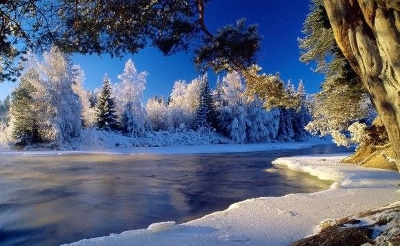 """Предпросмотр схемы вышивки  """"зимняя река """". зимняя река, река,зима,снег,природа,пейзаж, предпросмотр."""