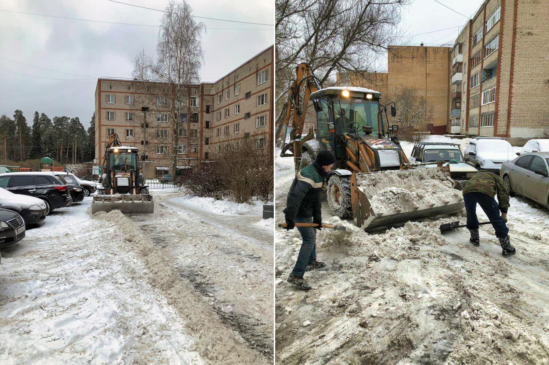 Продолжаем уборку снега в микрорайоне Северный