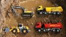 Fine Toys Construction Vehicles Under The Mud. Excavator | Dump truck | Wheel Loader