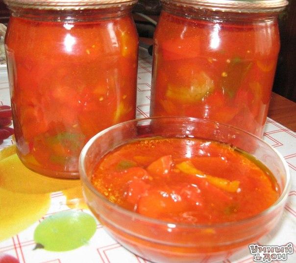 Лечо с Луком!!! Ням-Ням - Собираем рецепты заготовок к зиме Ингредиенты 1. 5 кг Болгарского перца (цвет на ваш вкус) 2. 2 литра томатного соку ( примерно 2,5 кг томатов) 3. 1 кг репчатого лука 4. 1 ст. постного масла 5. 1 ст. сахара 6. 2 ст\\л соли 7. 120 мл уксуса ( можно на вкус) Как приготовить Моем перцы, хорошо вычищаем и режим крупной соломкой. Лук чистим, режим полукольцами (толщина примерно, около 1 см) У меня был готовый томатный сок, если у вас нет, то нужно вымыть помидоры,…
