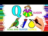 Teach Children To Draw Alphabet Q For Queen Coloring Book Kids Learn Paint Colors Pages Video#205
