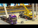 GREAT RC MODEL SCALE CRANE TADANO FAUN IN ACTION!! RC HEAVY LOAD TRUCK SCANIA