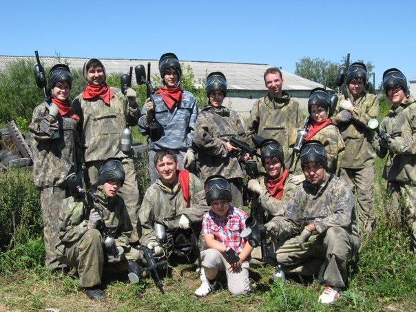 The hirtles playing wedding paintball