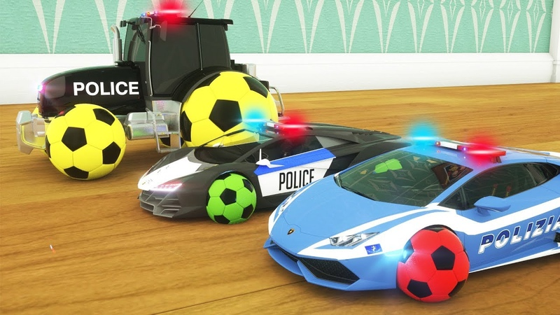 Learn Colors with Police Cars Replace Tyres - Tractor Cartoon for Kids