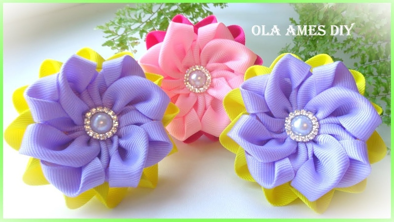 КанзашиПростые цветы из лентEasy DIY Ribbon FlowersFlor de fita fácilOla ameS DIY