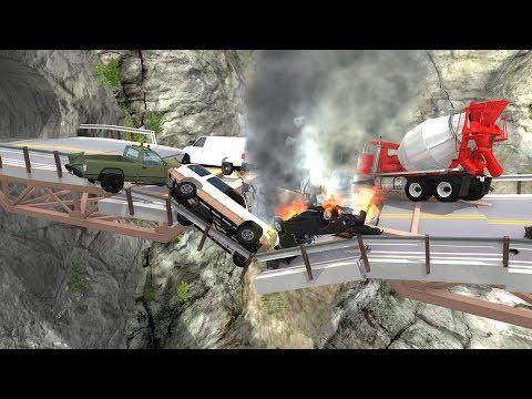 Collapsing Bridge Pileup Crashes 2 - BeamNG Drive