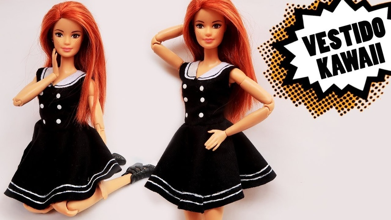 DIY Vestido Kawaii ( Estilo Anime ) - Tutorial para Barbie e outras Bonecas