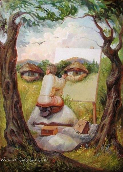 """ТЕСТ. Что вы видите на картинке: 1. Лицо 2. Дома 3. Художник 4. Камень 5. Деревья Расшифровка: Лицо - у вас очень хорошая память, вы можете запомнить все то что вам необходима на данном этапе жизни. Вы так же умеете """"сканировать"""" людей, вы видите людей на сквозь, вы можете почувствовать человека, его намерения. Дома -вы человек, который любит тепло, уют, домашние хлопоты и домашние заботы. Вы любите принимать гостей, готовить праздничный стол для своих друзей. Вы душа компании,…"""