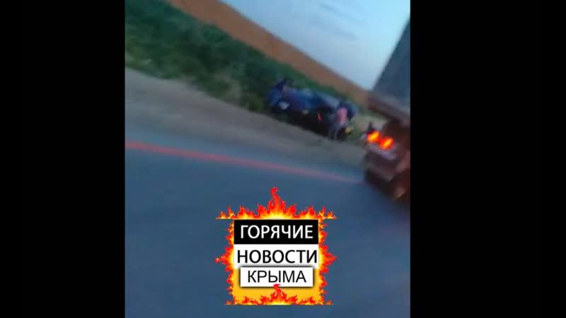 Ланос улетел в кювет на трассе Симферополь - Николаевка, за селом Дубки