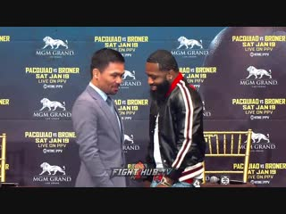 MANNY PACQUIAO ADRIEN BRONER ALL LAUGHS DURING FUNNY FIRST FACE OFF IN NEW YORK