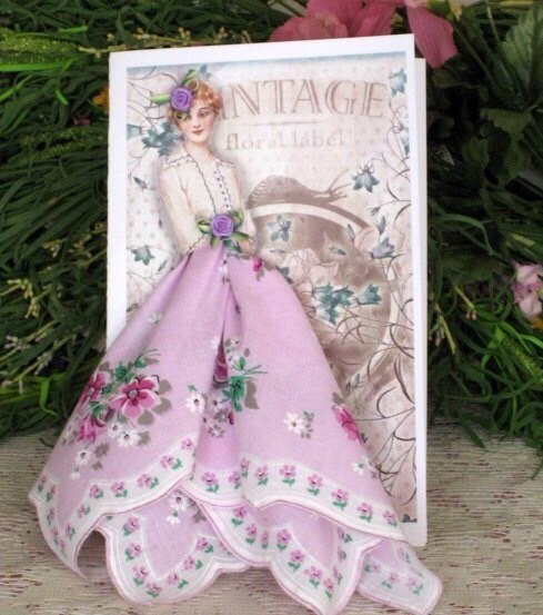 Авторские открытки, с использованием платочков