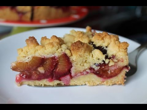 Тертый пирог со сливой Schneller Pflaumenkuchen mit Streuseln Simple Easy Plum Crumble Cake ENG SUBS