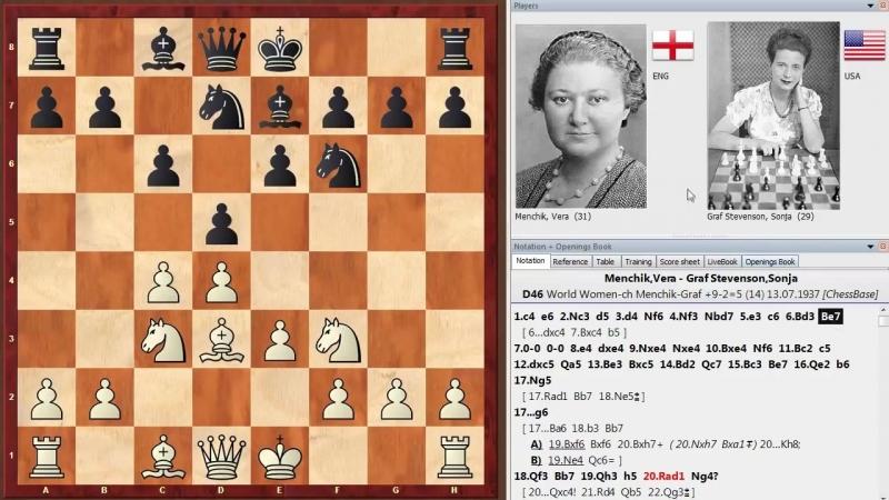 Шахматы. Красивая партия Веры Менчик - первой Чемпионки Мира по шахматам