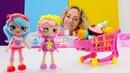 Spielzeugvideo für Kinder Wir gehen für die Shopkins Puppen einkaufen