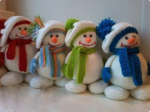 Снеговички, вязанные спицами. Мастер-класс…. (9 фото) - картинка
