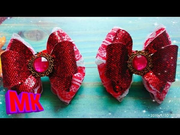Бантики из репсовой ленты и кожзама.Bows of rep ribbon and imitation leather.