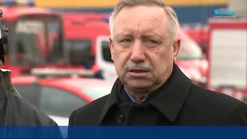 Александр Беглов прибыл на место пожара в гипермаркете на Обводном канале