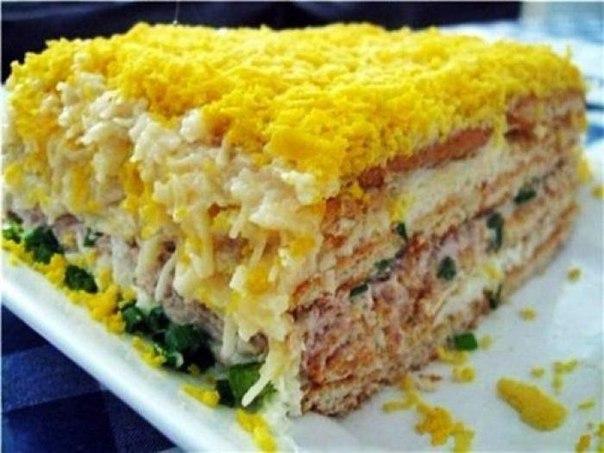 топ-6 мужских салатов 1) рыбный салат с крекерамиингредиенты:● круглые крекеры (несладкие) — 2 пачки● рыбная консерва (горбуша, тунец, сайра в масле, можно крабовые палочки) — 1 банка● яйцо —
