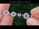 TOP QUALITY Pink Sapphire &amp Diamond Bracelet Solid 14K Gold