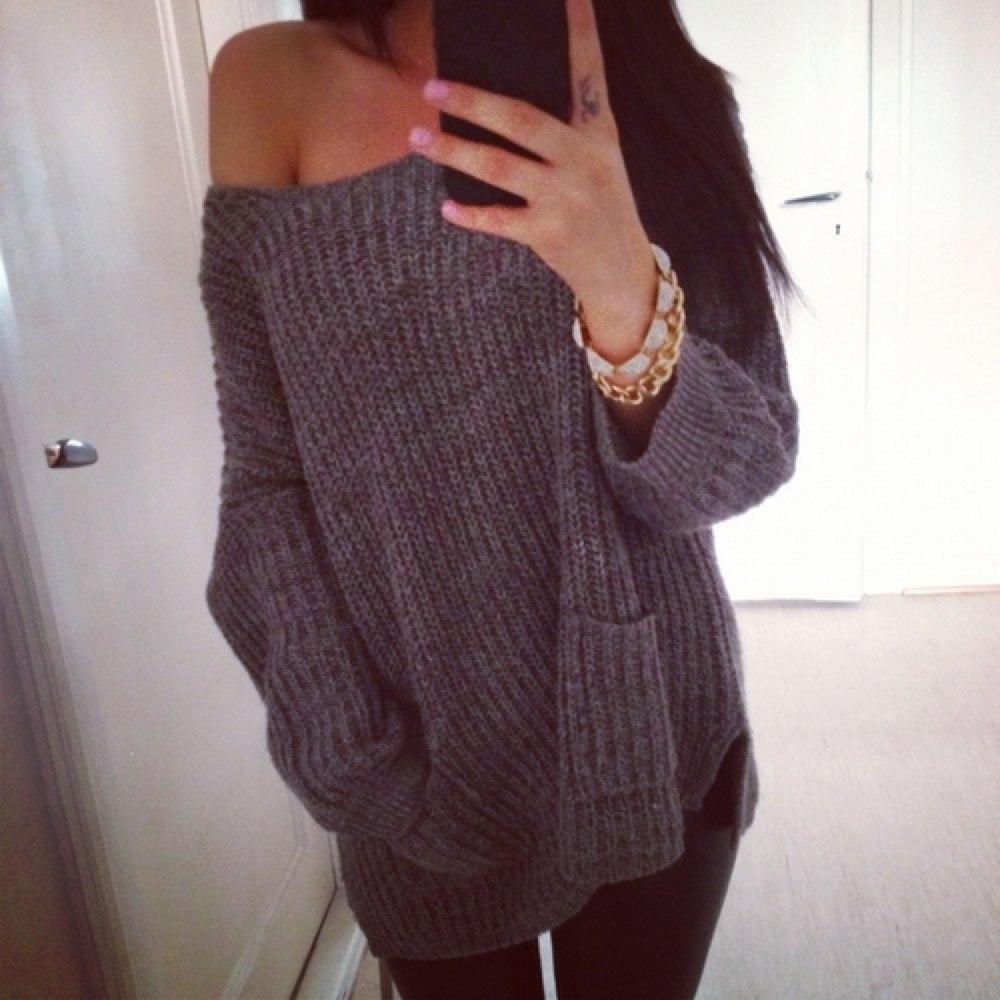Вязанные широкие свитера женские