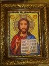 Икона из бисера.  Иисус Спаситель.  В работе использовался чешский бисер.  Размеры 18 х 22 см. , с рамкой 25 х 29 см.