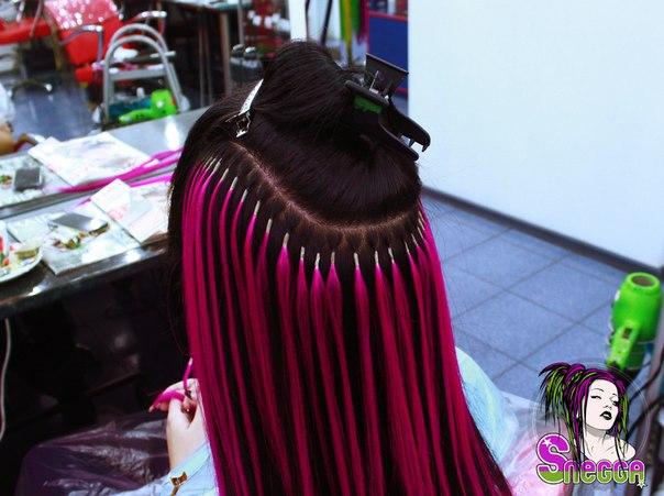 Наращивание волос цветными прядями