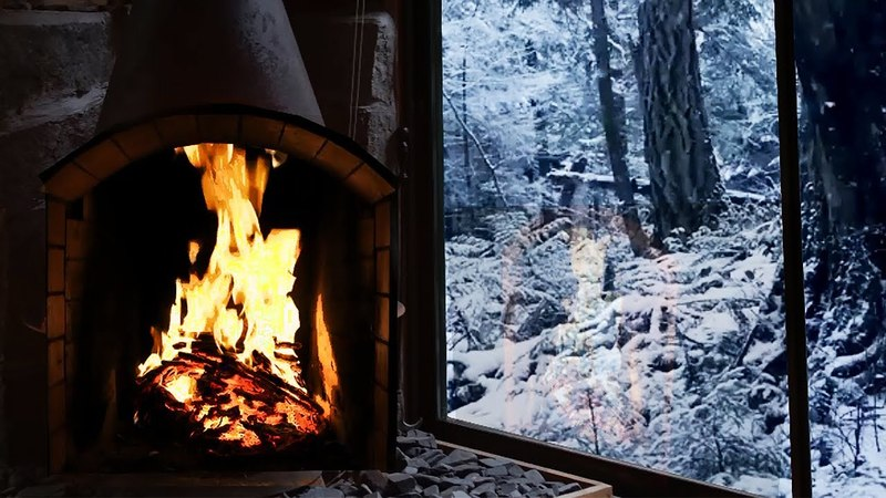 8 Hours of Burning Fireplace Sound with Majestic Snowfall Outside (no Music)