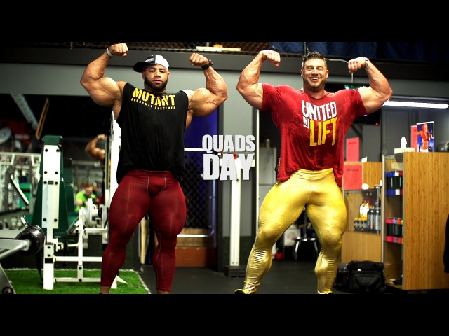 Гейб Моэн и IFBB Pro Мануэль Ромеро, тренировка квадрицепсов (без перевода)