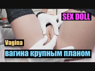 Разглаживаем стенки вагины у секс куклы, пельмень крупным планом.