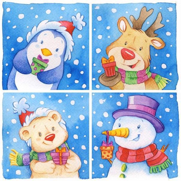 Новогодние иллюстрации от Monica Pierazzi Mitri