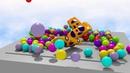 Как мультик интересным стал , разноцветные шарики, три одинаковых желтых машин . Падают с небес.