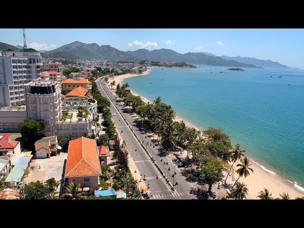 206 Вьетнам Нячанг Виды из окна автобуса Мост море Пляж Ругается Nha Trang beach bridge sea swears