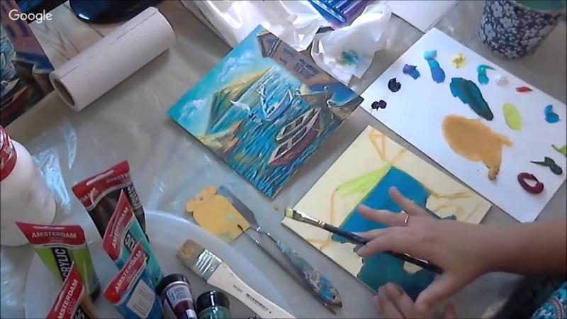 Морской пейзаж акриловыми красками Amsterdam: видео урок Марии Гусыниной
