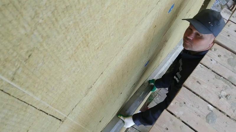 Проверка при помощи правила качества приклейки минеральной ваты на отклонения от плоскостности